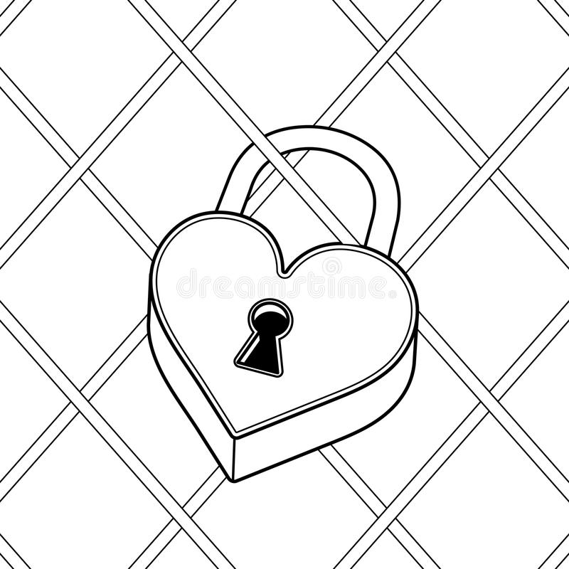 心形的锁彩图传染媒介 向量例证