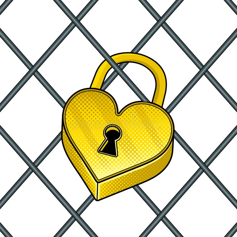 心形的锁流行艺术传染媒介例证 向量例证