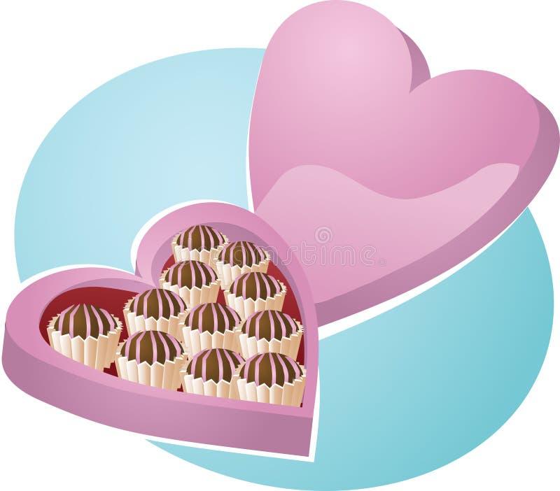 心形配件箱的巧克力 皇族释放例证
