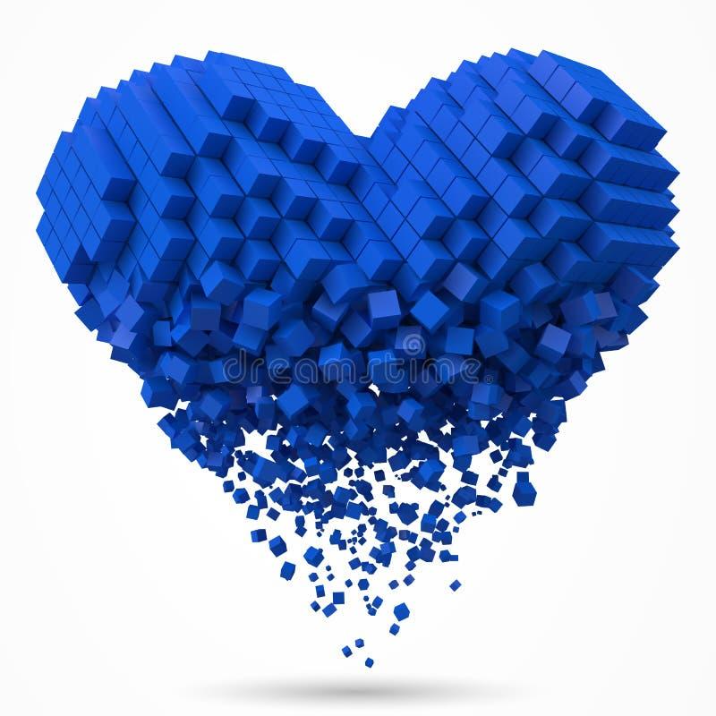心形,溶化的数据块 用立方体做 3d映象点样式传染媒介例证 向量例证