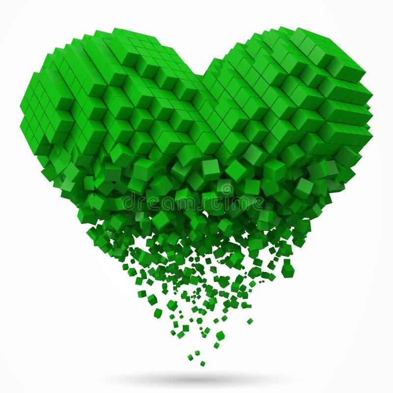 心形,溶化的数据块 用绿色立方体做 3d映象点样式传染媒介例证 库存例证