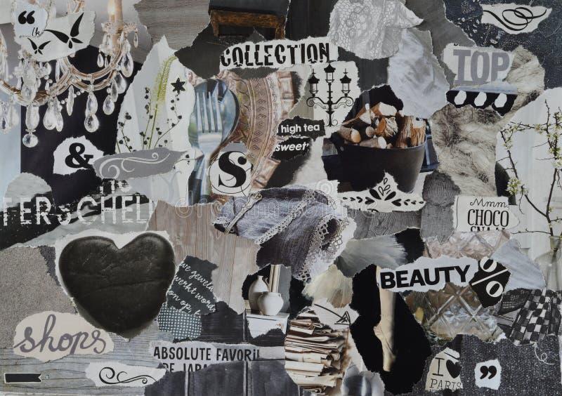 心情板,拼贴画与高雅元素的大气板料与白色,黑和灰色和与心脏,蝴蝶,芭蕾的蓝色 免版税图库摄影