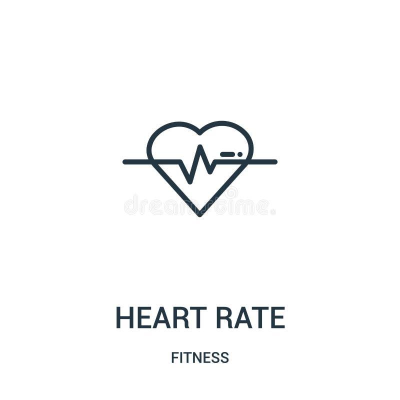 心率从健身汇集的象传染媒介 稀薄的线心率概述象传染媒介例证 线性标志为使用 库存例证