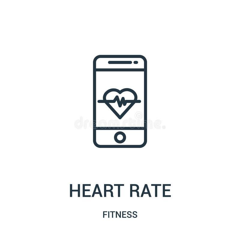 心率从健身汇集的象传染媒介 稀薄的线心率概述象传染媒介例证 线性标志为使用 皇族释放例证
