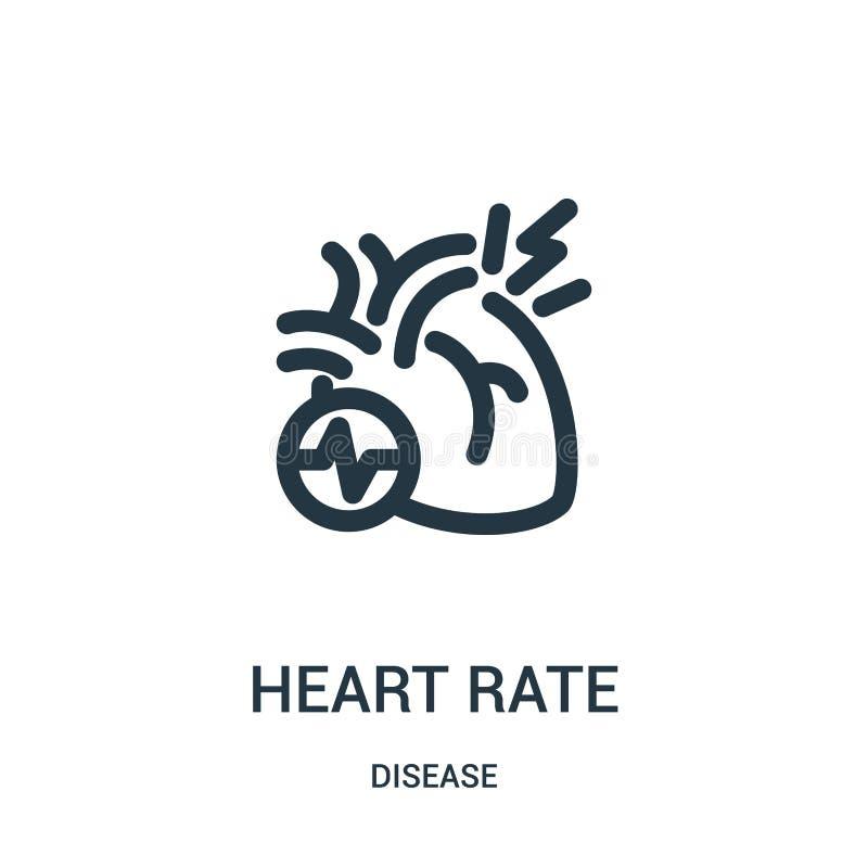 心率从疾病汇集的象传染媒介 稀薄的线心率概述象传染媒介例证 线性标志为使用 库存例证