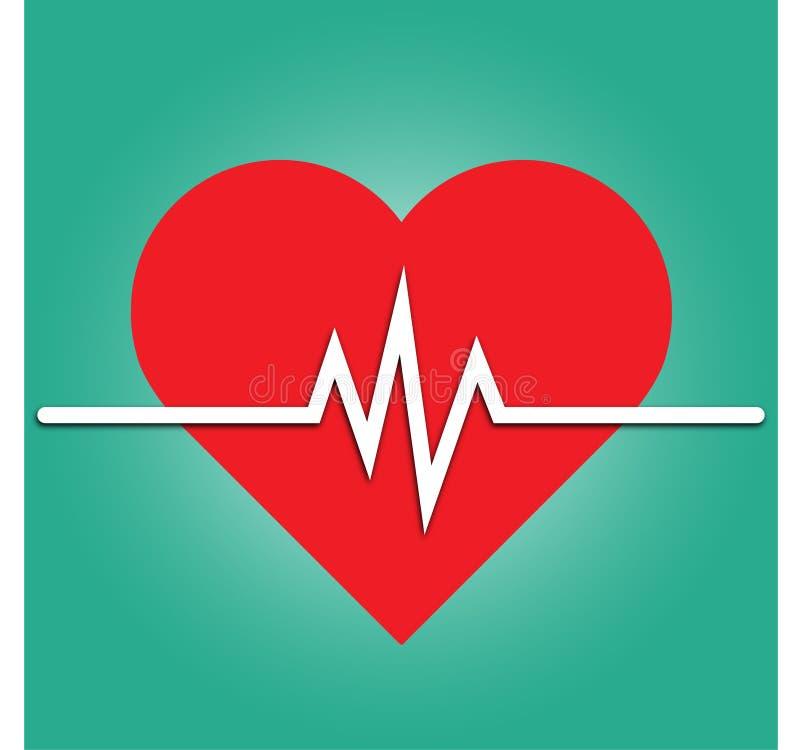 心率象-健康显示器 红色心率 血压传染媒介象 向量例证