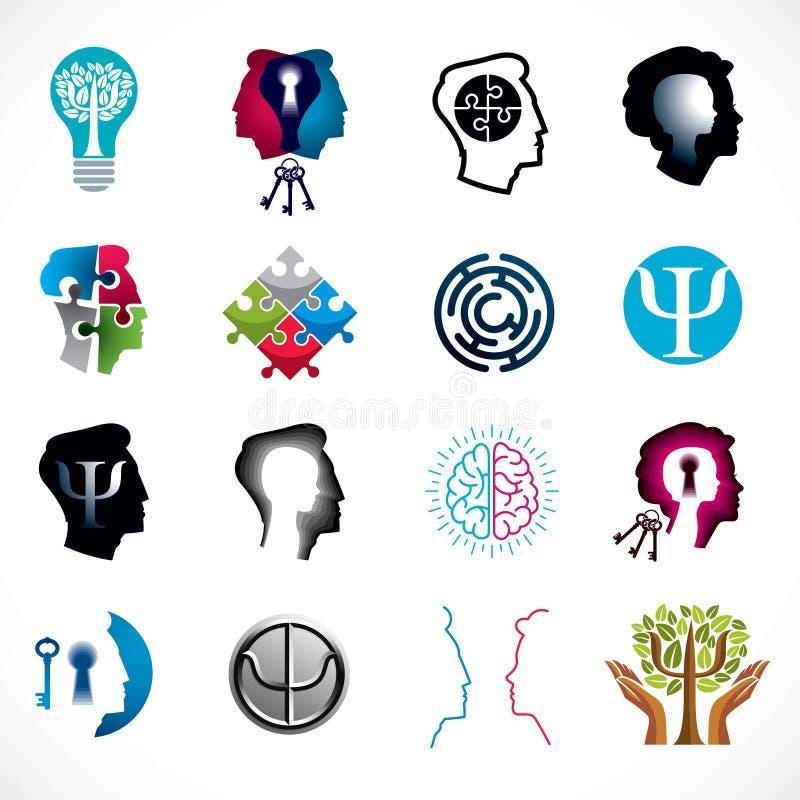 心理学、人脑、精神分析和精神疗法, relat 皇族释放例证