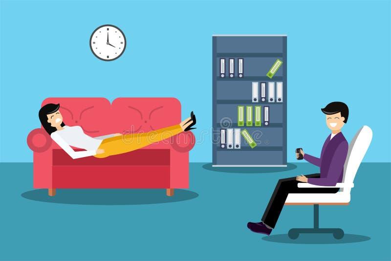 心理学家办公室内阁室传染媒介. 患者, 顾问.图片