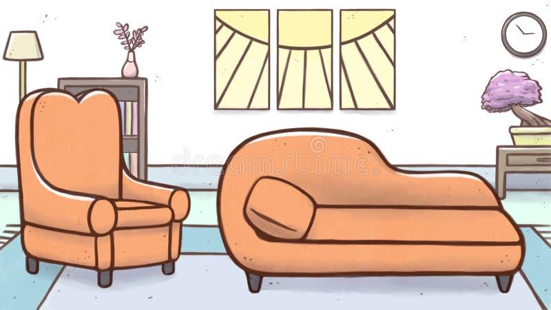 """心理学家有扶手椅子和长沙发†""""动画片的疗法室 皇族释放例证"""