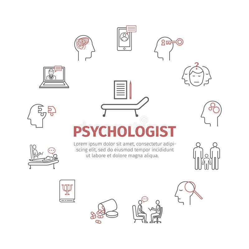 心理学家线被设置的象 概念性infographics 建议心理学 网图表的标志 皇族释放例证