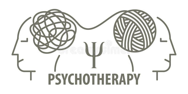 心理学家解开被缠结的缠结 库存例证