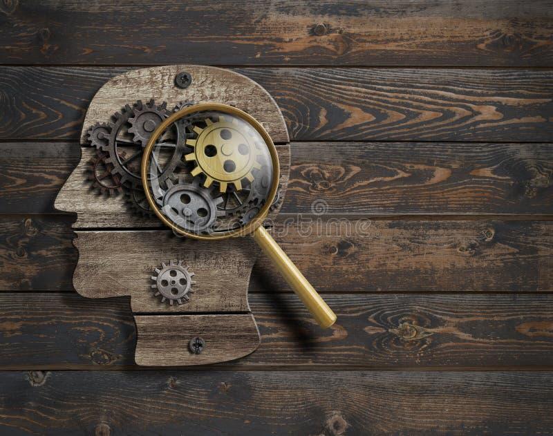 心理学或发明构想 脑子作用模型3d例证 皇族释放例证