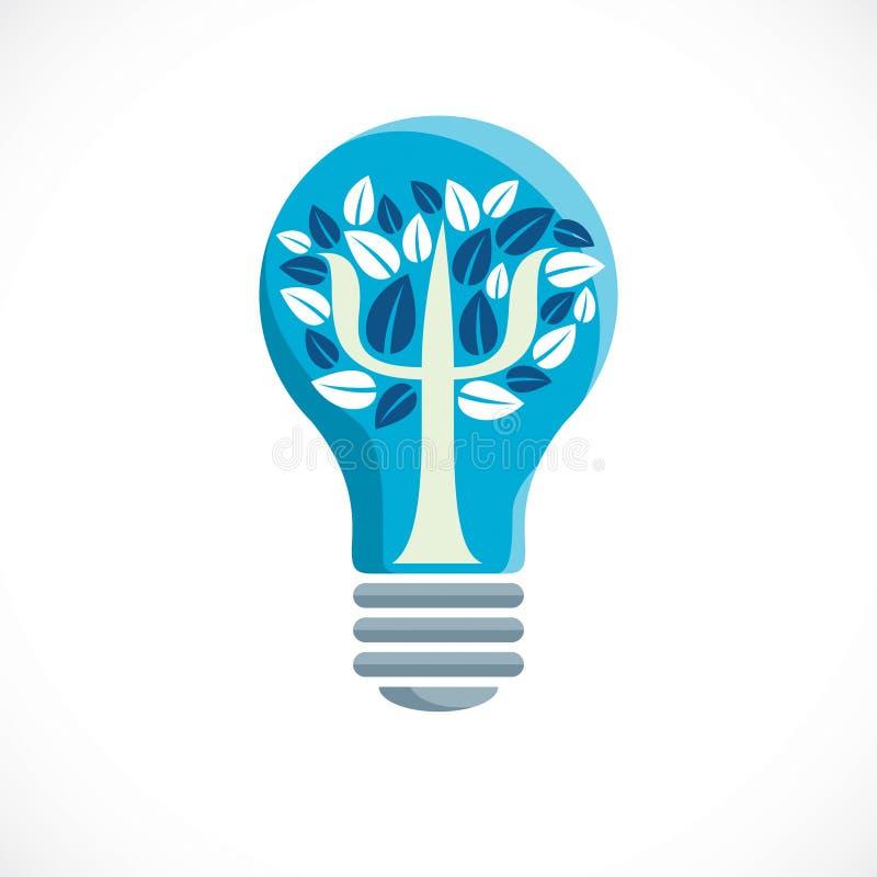 心理学概念用希腊Psi标志或象创造的传染媒介商标作为与里面叶子的一棵树想法电灯泡,精神 皇族释放例证
