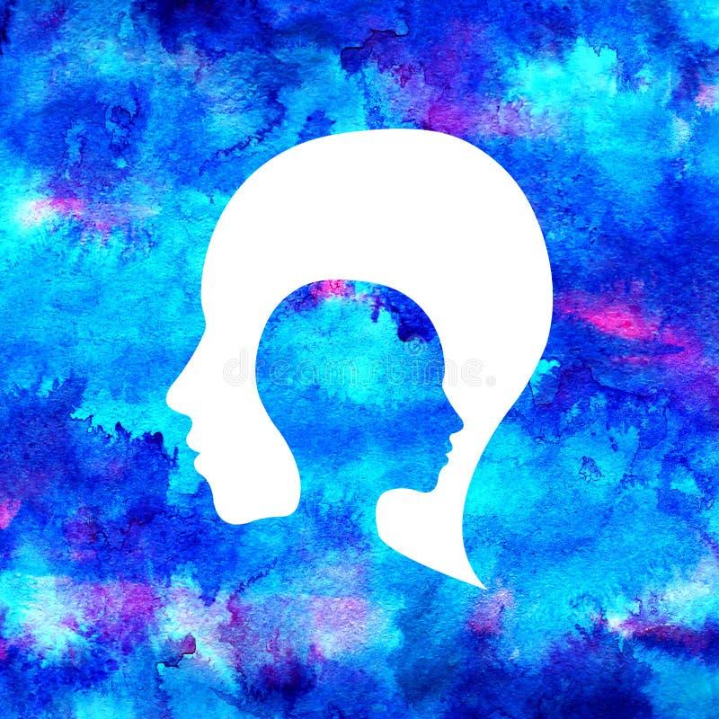 心理学现代水彩头商标  创造性的样式 略写法 设计观念 品牌公司 蓝色明亮的颜色 向量例证