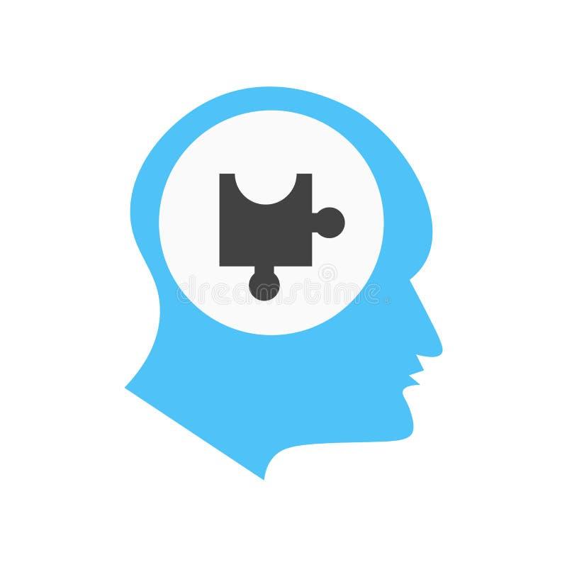 心理学象在白色背景和标志隔绝的传染媒介标志,心理学商标概念 皇族释放例证