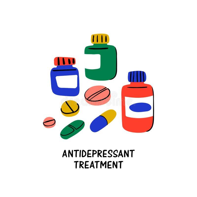 心理学 抗抑郁剂治疗 在瓶子和抗抑郁剂药片的疗程 反对重音的医疗治疗和 皇族释放例证