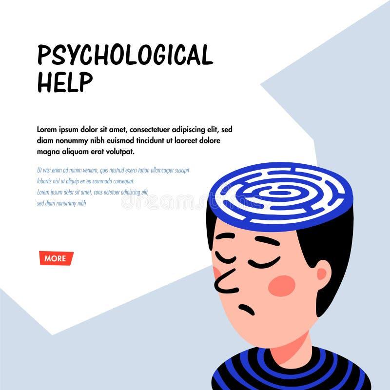 心理学 精神分析 与迷宫的人字符在头 心理学帮助概念,疗法,神经病 库存例证