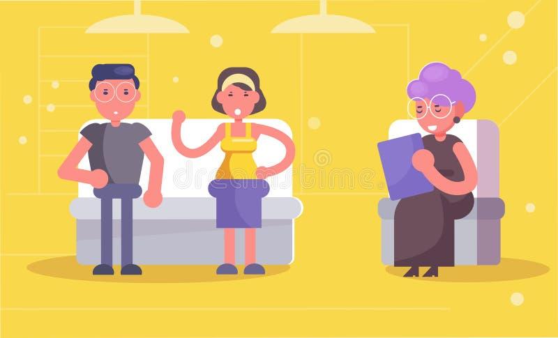 心理治疗家已婚夫妇在招待会在心理学家舱内甲板 向量例证
