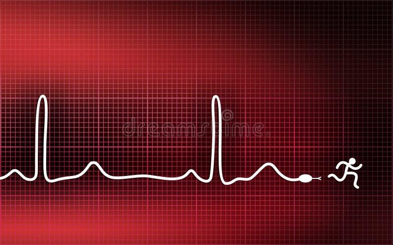 心电图人运行中 向量例证