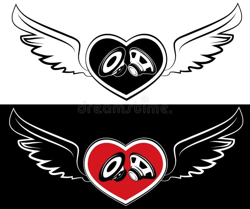 心脏、报告人和翼。纹身花刺背景 库存例证