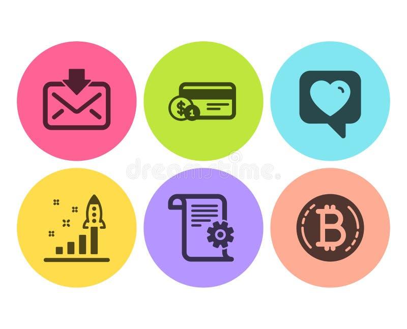 心脏、来信和技术文献象集合 付款方法、发展计划和Bitcoin标志 ?? 库存例证