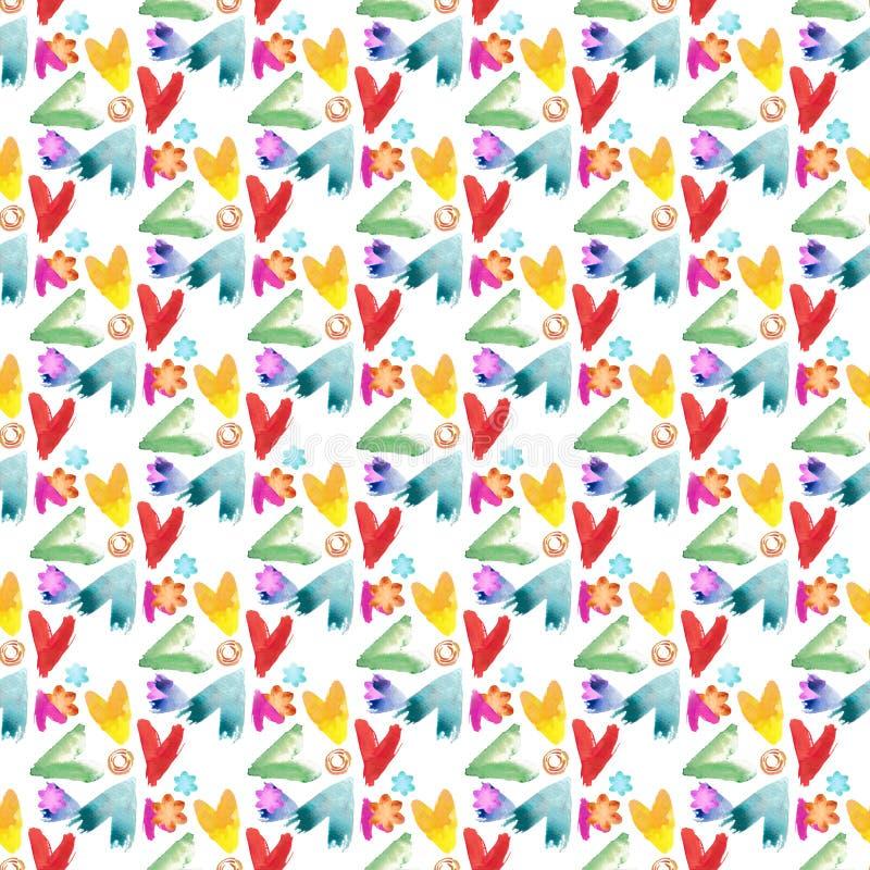 心脏、漩涡和花 在白色背景的水彩抽象无缝的样式 库存例证