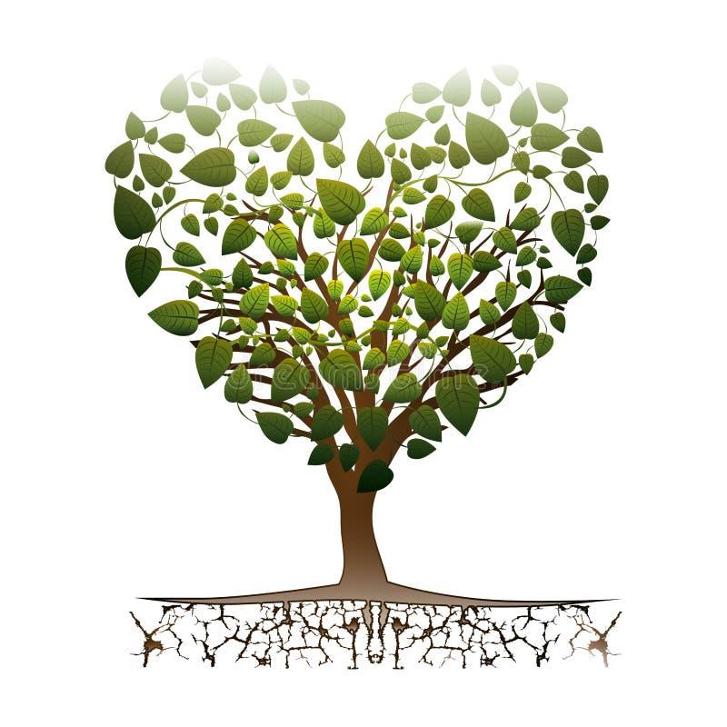 心脏与五颜六色的叶茂盛分支的形状树 库存例证