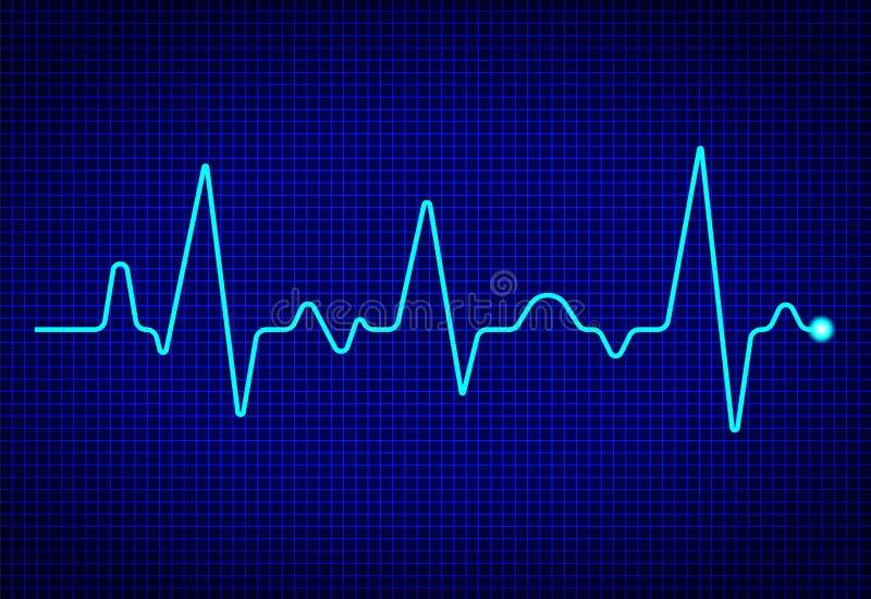 心脏与信号的脉冲显示器在深蓝背景 ?? ekg波浪 与心脏病频率的健康概念 ?? 皇族释放例证