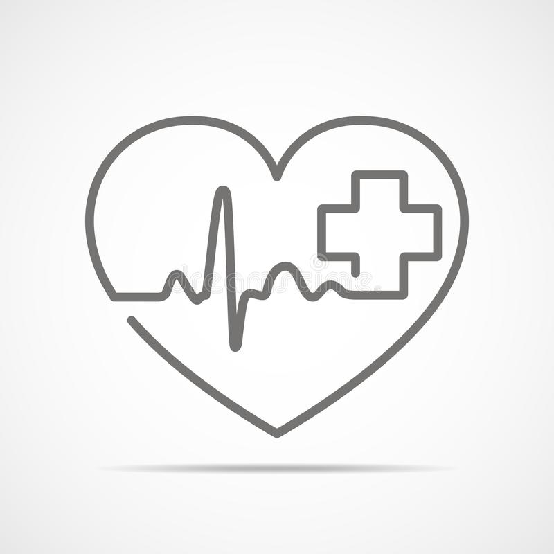 灰色心脏与心跳标志和与十字架 也corel凹道例证向量 在平的概述样式图片