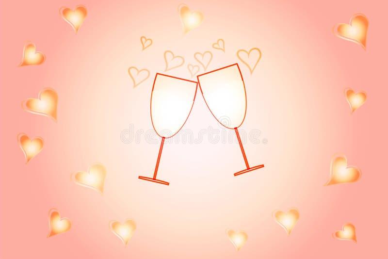 心脏两个玻璃和剪影在轻轻地桃红色背景的 浪漫欢乐贺卡 库存例证