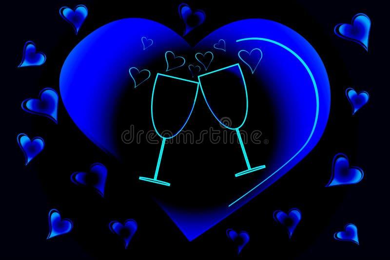 心脏两个玻璃和剪影在黑背景的 浪漫卡片对圣洁华伦泰的天 库存例证