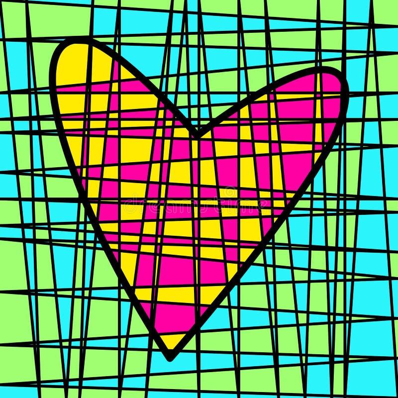 心脏五颜六色的铺磁砖的补缀品 色的剧情 库存例证