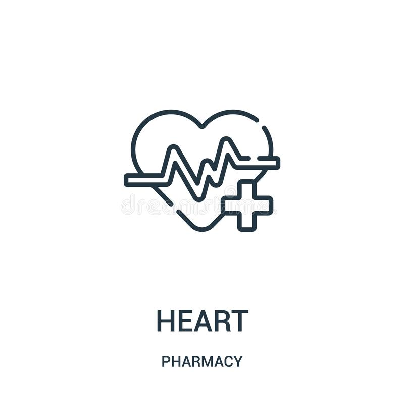 心脏从药房汇集的象传染媒介 稀薄的线心脏概述象传染媒介例证 库存例证