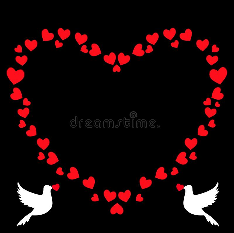 心脏传染媒介减速火箭的心形的相框与鸽子剪影的 皇族释放例证