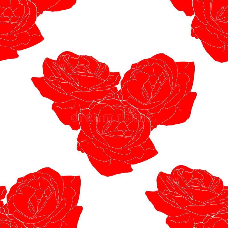 心脏传染媒介的花玫瑰色形式的无缝的样式