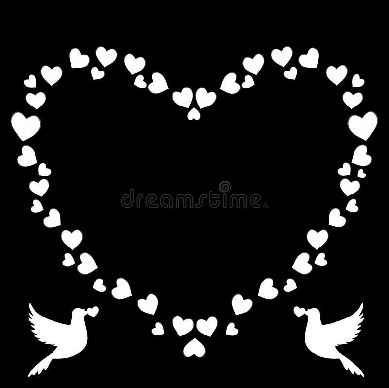 心脏传染媒介葡萄酒心形的边界与爱的鸠夫妇鸽子剪影的 库存例证