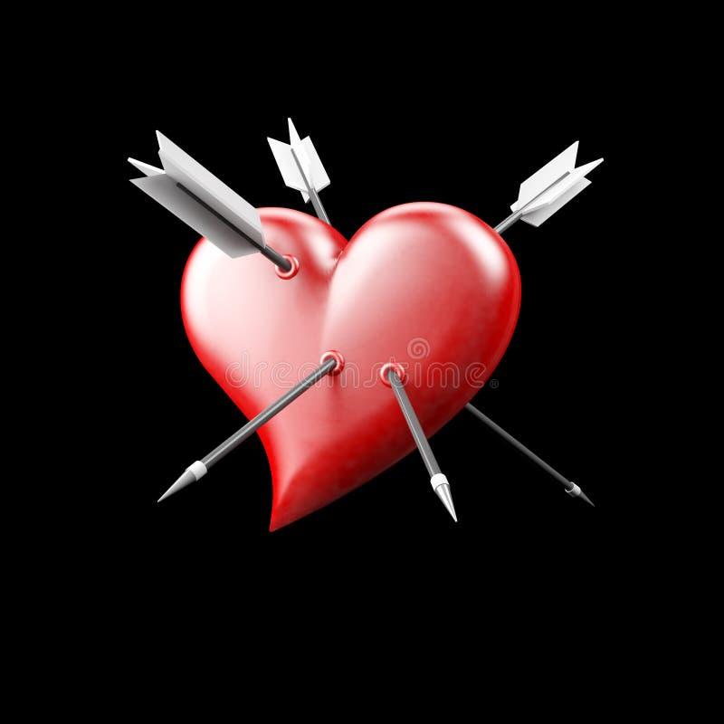 心脏刺穿与箭头 库存照片
