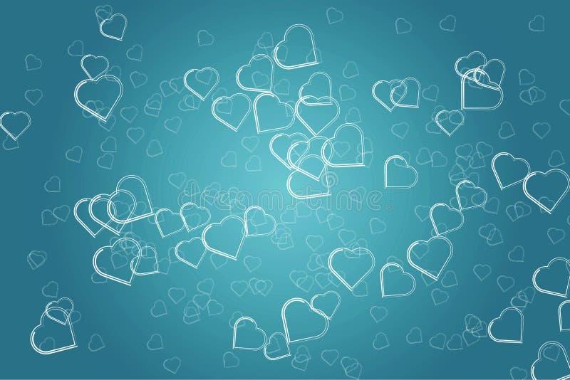 心脏剪影在蓝绿色梯度背景的 欢乐抽象的背景 库存例证
