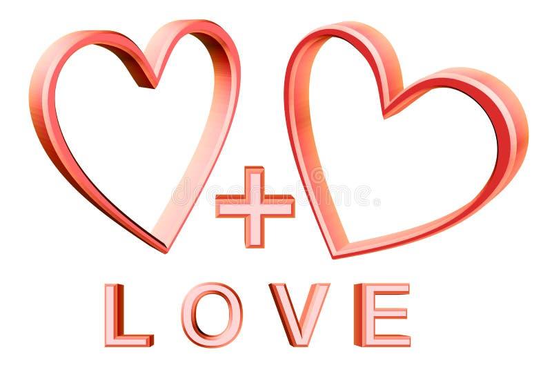 心脏加上心脏 库存例证