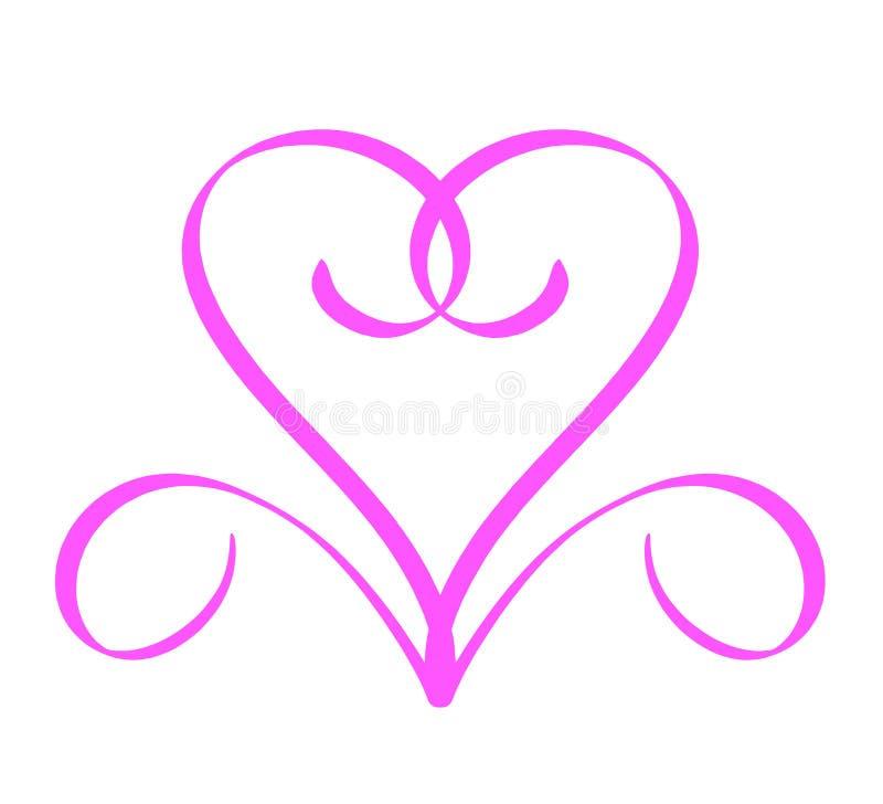心脏单音线商标葡萄酒情人节手拉书法 在传染媒介例证设计元素象上写字的书法 向量例证