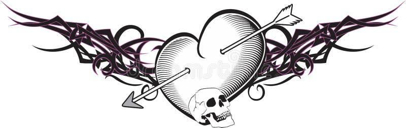 心脏和丝带纹身花刺箭头