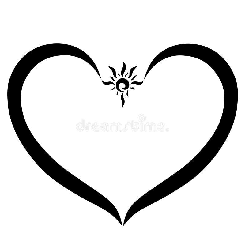 心脏和小光亮的太阳,黑线 皇族释放例证