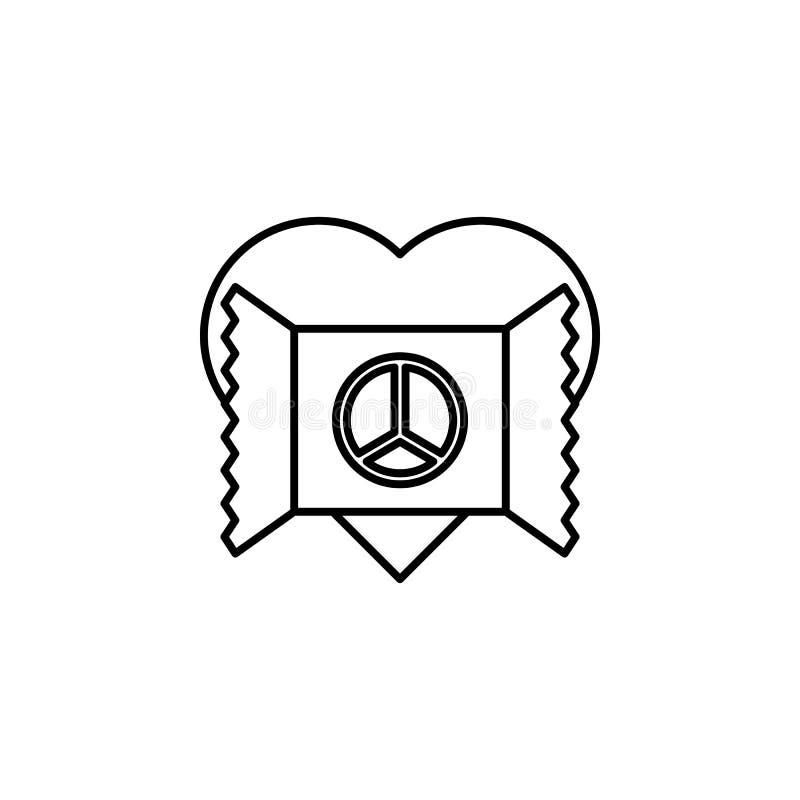 心脏和明信片与和平象 和平象的元素流动概念和网apps的 与和平的稀薄的线心脏和明信片 库存例证
