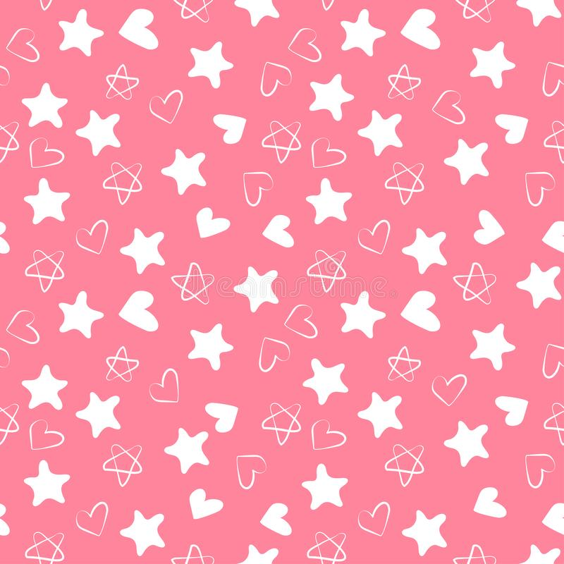 心脏和星无缝的样式 孩子的时尚设计印刷品 设计元素为婚姻,生日或者情人节 ? 库存例证
