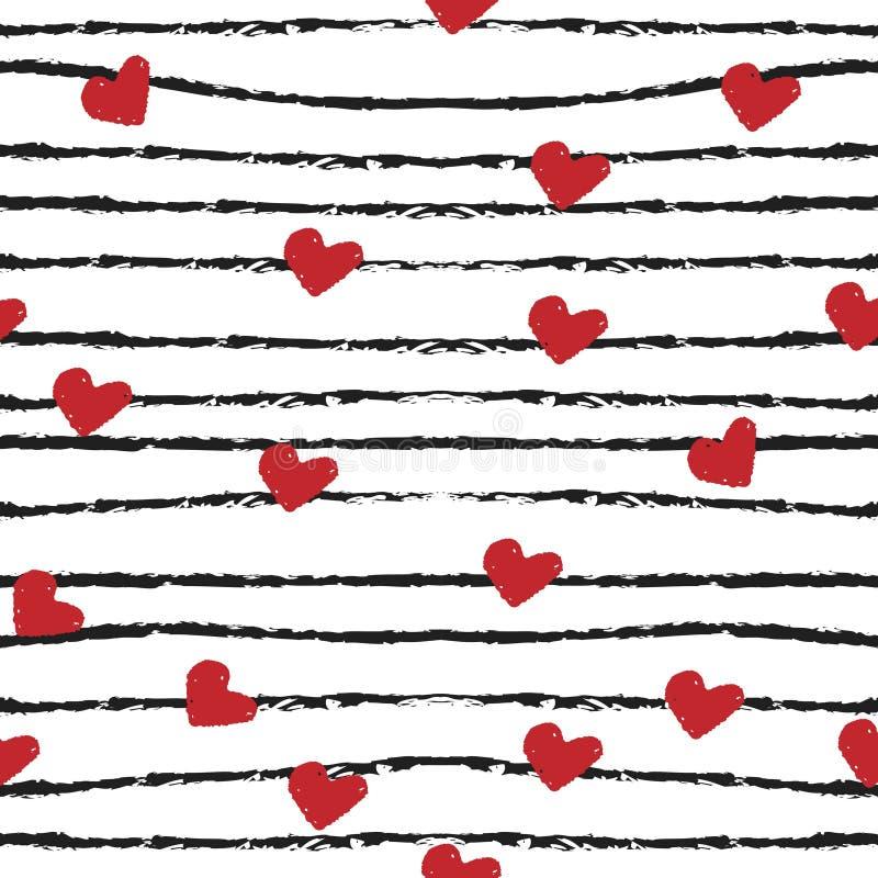 心脏和条纹现代刷子无缝的样式 也corel凹道例证向量 免版税库存照片