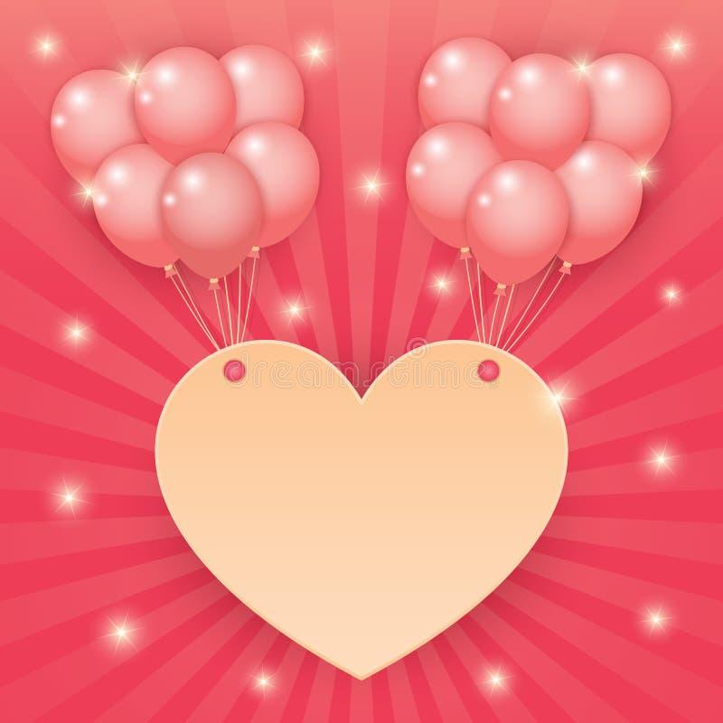 心脏和气球在starburst背景 皇族释放例证