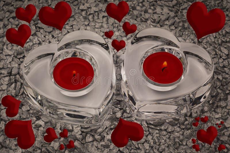 心脏和烛光 免版税库存图片