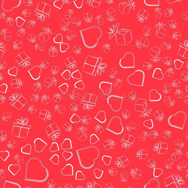 心脏和礼物标志剪影在桃红色背景的 无缝 向量例证