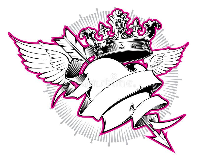 心脏和箭头纹身花刺设计