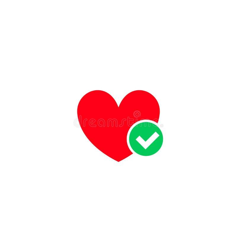 心脏和绿色壁虱检查号传染媒介象 库存例证